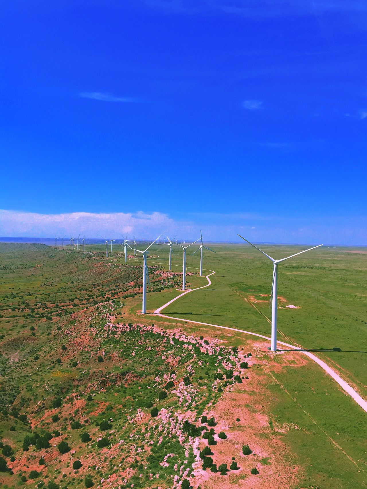 Top of the world Wind Turbine Blue Beauty In Nature Outdoors Grass No People Tranquil Scene Sky New Mexico Renewable Energy Wind EyeEmNewHere