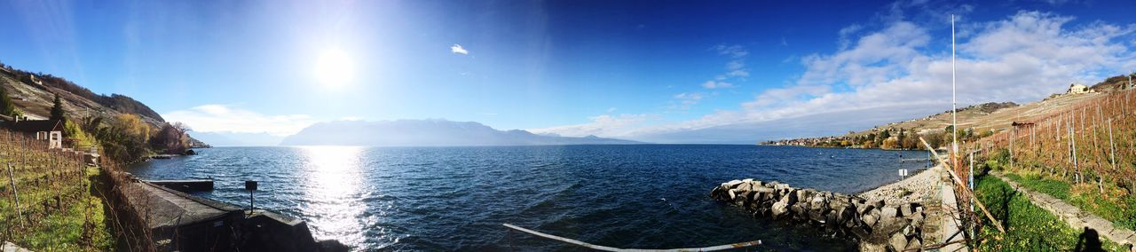 Panorama Clouds And Sky Lavaux Mountains Lake Epesses Lake Leman Signs Bluesky
