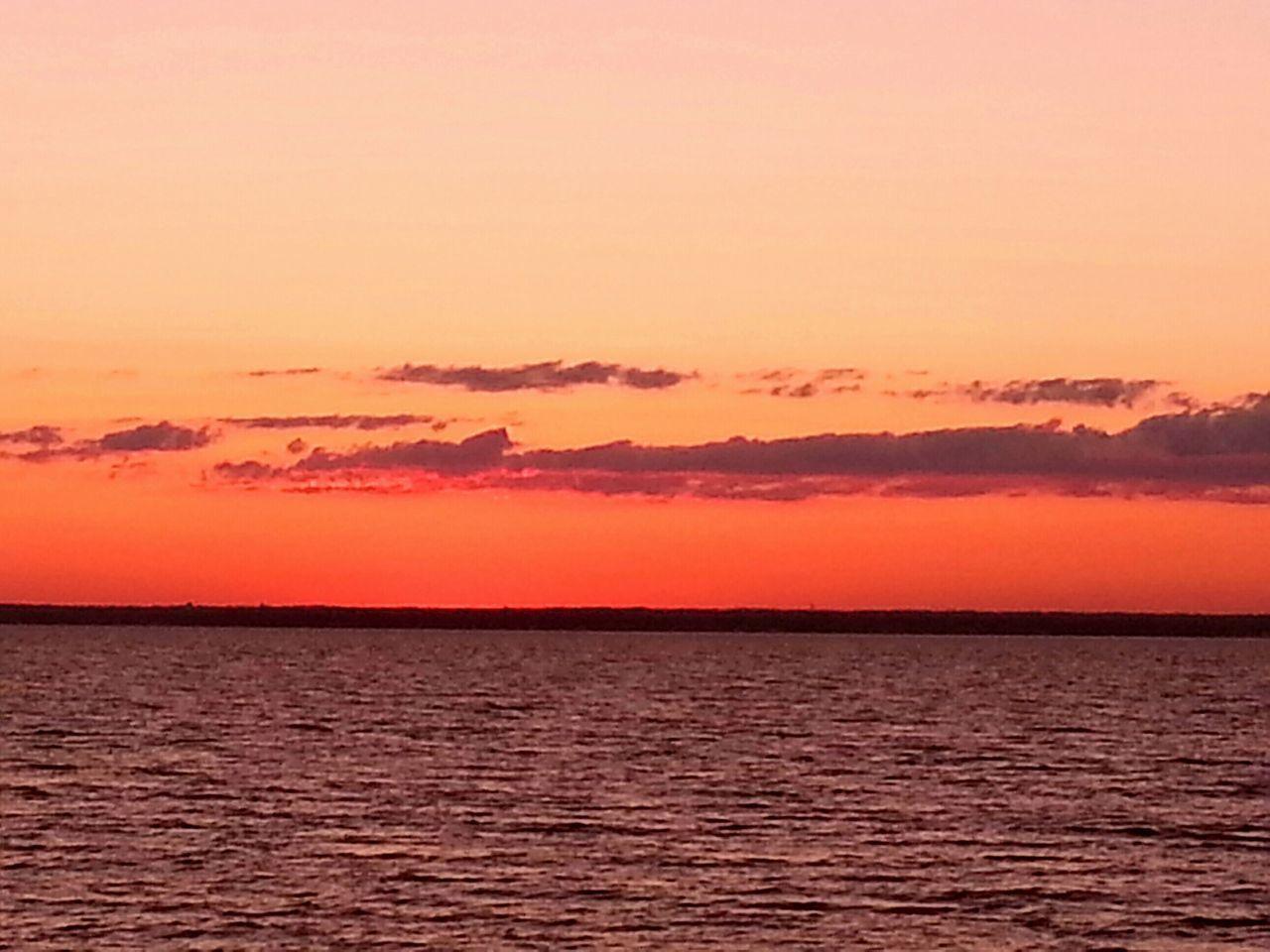 One July Day Sunset Orange Sky Horizon Hues Seascape Enjoying Life New York