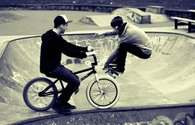 Skateboarding Blackandwhite Bike Timing Skatepark Bmx