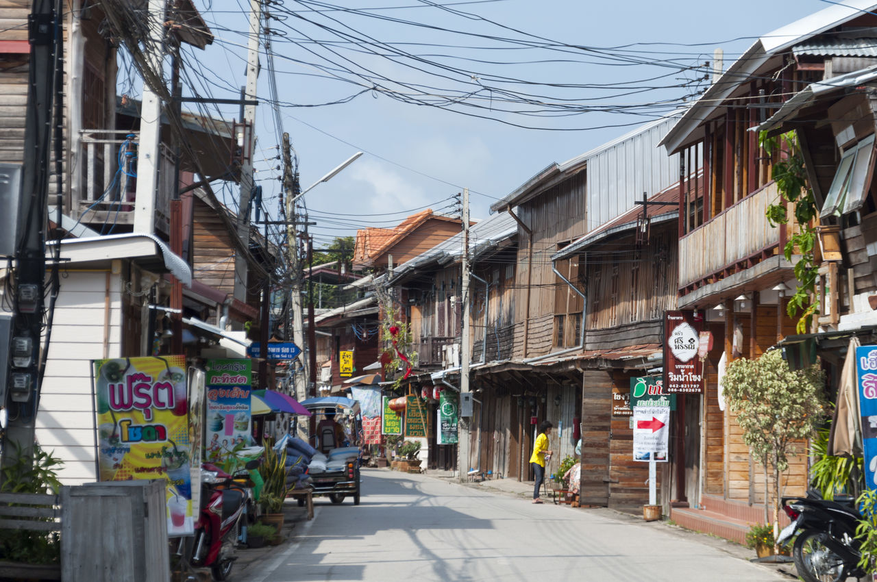 Old Town Chiang Khan Thailand Old Vintage Country Country Life Wood House Wooden Power Line  LINE