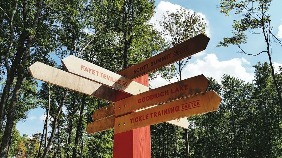 Miles Away Boy Scouts Bechtel Summit Reserve Crossing Sign No People Outdoors Signage Wayfinding Wayfinding Signage This Way And That