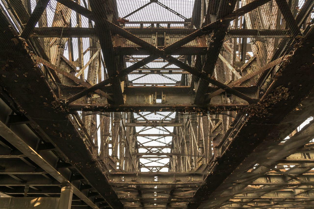 Abandoned Architecture Bridge - Man Made Structure Bright Built Structure City Connection Day Directly Below LINE Low Angle View Metal No People Old Outdoors Rust Rusty Sky Transportation Urbex