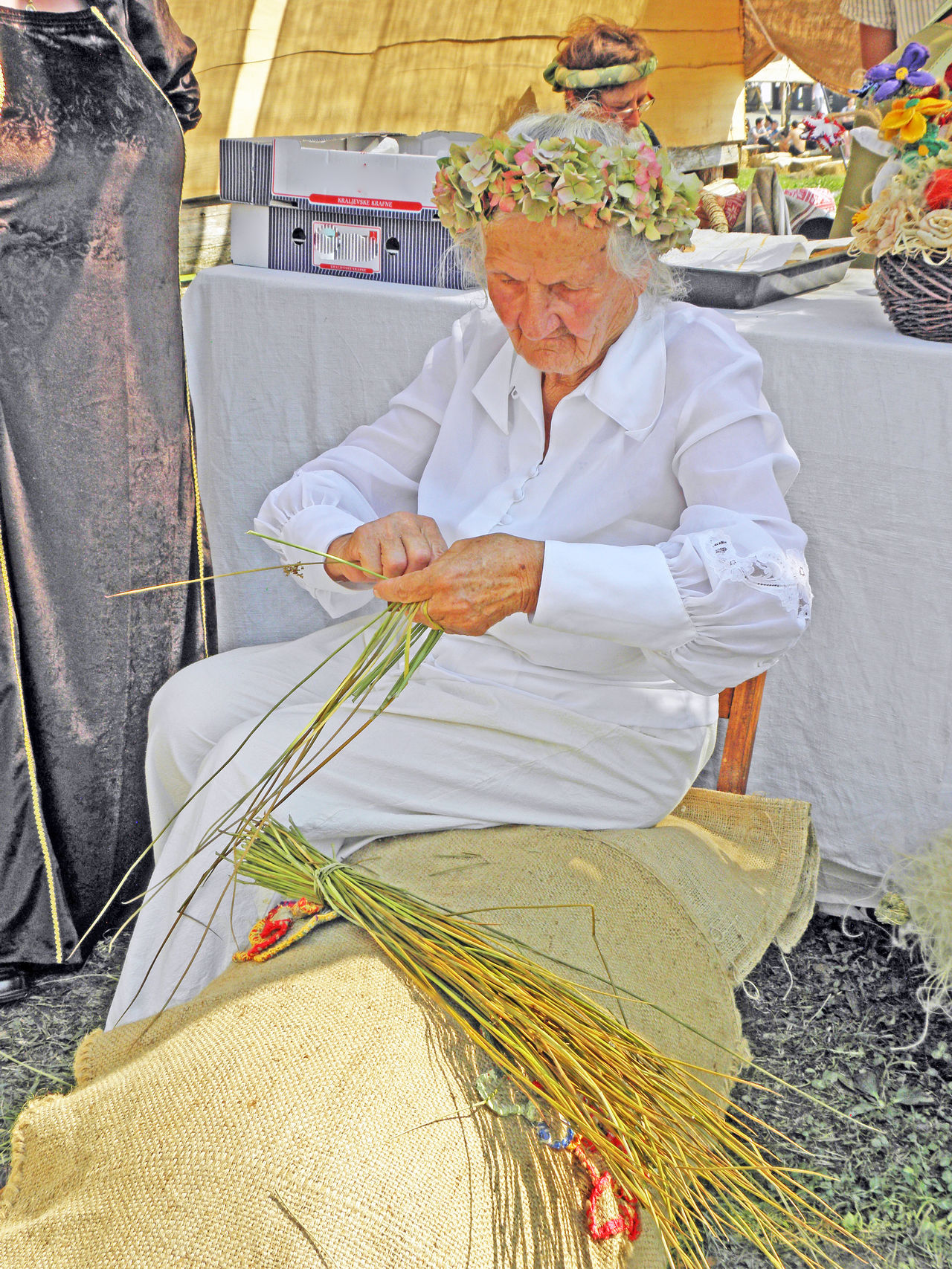 Renaissance Festival,Koprivnica 2016, old woman makes basket, 26 Annual Basket Baskets Hand Made Croatia Eu Europe Event Fair Koprivnica Making Medieval Old Woman Old Woman Portrait Person Renaissance Festival Shadow Summer Traditional