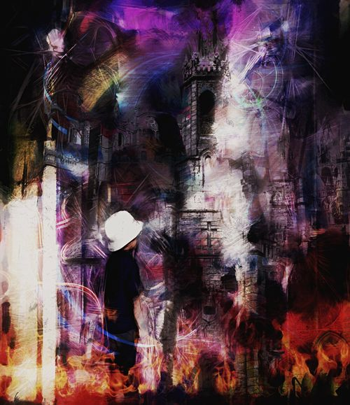 Variation Club666 Château Noir Little Boy Silhouettes Ghost Darkness Graphic Design Digital Art Textures And Surfaces Multiple Exposures Colorful Light And Shadow Pareidolia