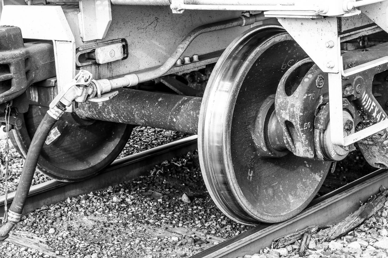 Close-up Day Engine EyeEm Gallery Fine Art Photography Freight Transportation Land Vehicle Locomotive Mode Of Transport No People Outdoors Public Transportation Rail Transportation Railroad Track Repairing Stationary Steam Train Tire Train - Vehicle Transportation Wheel