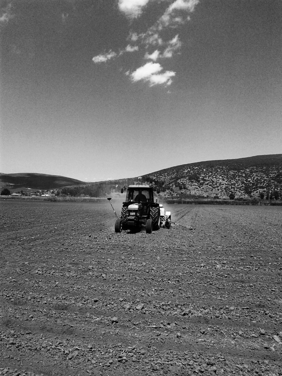 Tractor Agriculture Transportation Farm Sand Outdoors Day Rural Scene Sky Working Nature Desert Plowed Field Adult People Only Men Tracter Fieldscape EyeEm Best Shots EyeEm Gallery Eyem Gallery Blackandwhitephotography Black And White Collection  Nature_collection Landscape_collection EyeEmNatureLover