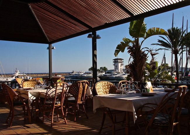 Absence Arrangement Blue Sky Boats Enjoying Life Furniture Harbor Hidden Gems  Lifestyles Lunch Time! Mallorca Palm Trees Parasol Port Puerto Portals Restaurant SPAIN Sunlight Table And Chairs Take Your Place Taking Photos Travel Wineandmore Winetasting Wine Moments Food Stories