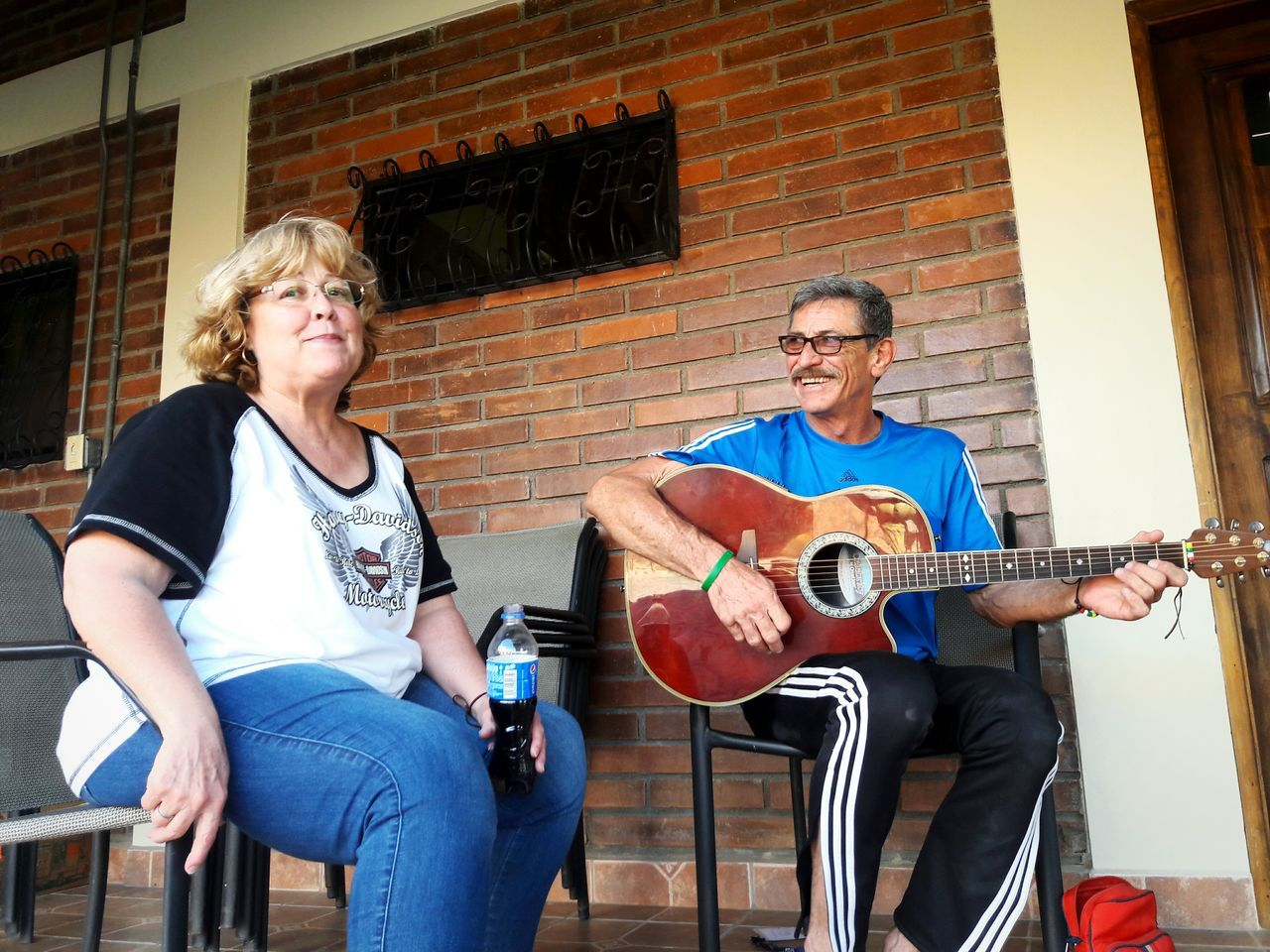 Always happy. Two People Playing Music Guitar Adult Musical Instrument Honduras