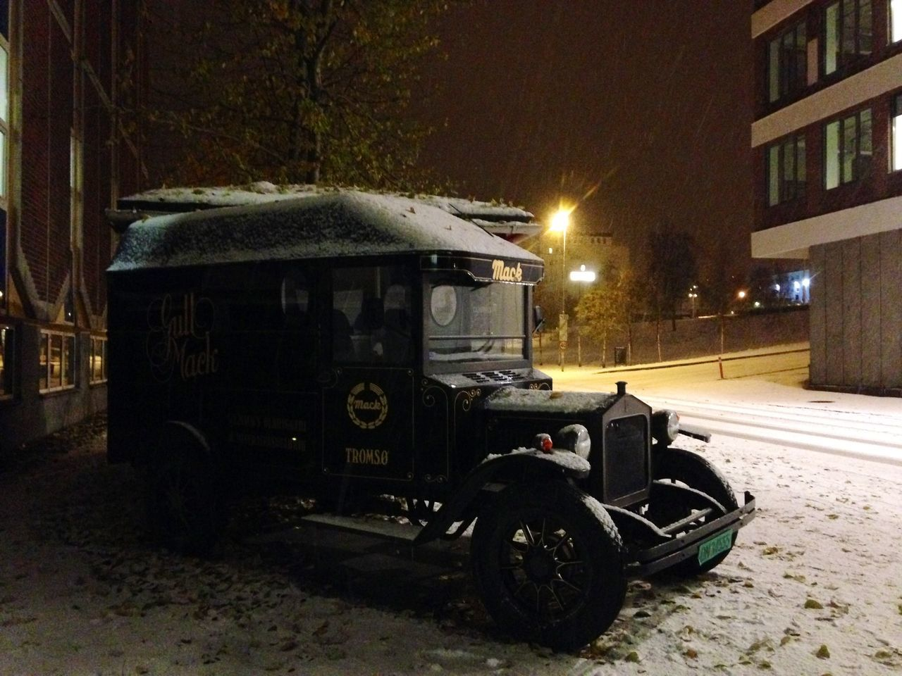 Transportation Land Vehicle Architecture Illuminated Mode Of Transport Built Structure Night Building Exterior Car No People Outdoors Stationary Mack Beer Nordkapp Norway