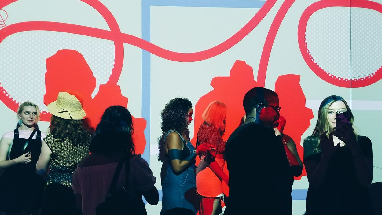 Art And Craft Person Rear View Standing Art Red Creativity In Front Of Vibrant Color Culture 29rooms Projection