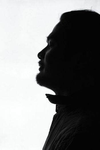 Silouette Profile Shot Black And White Portrait