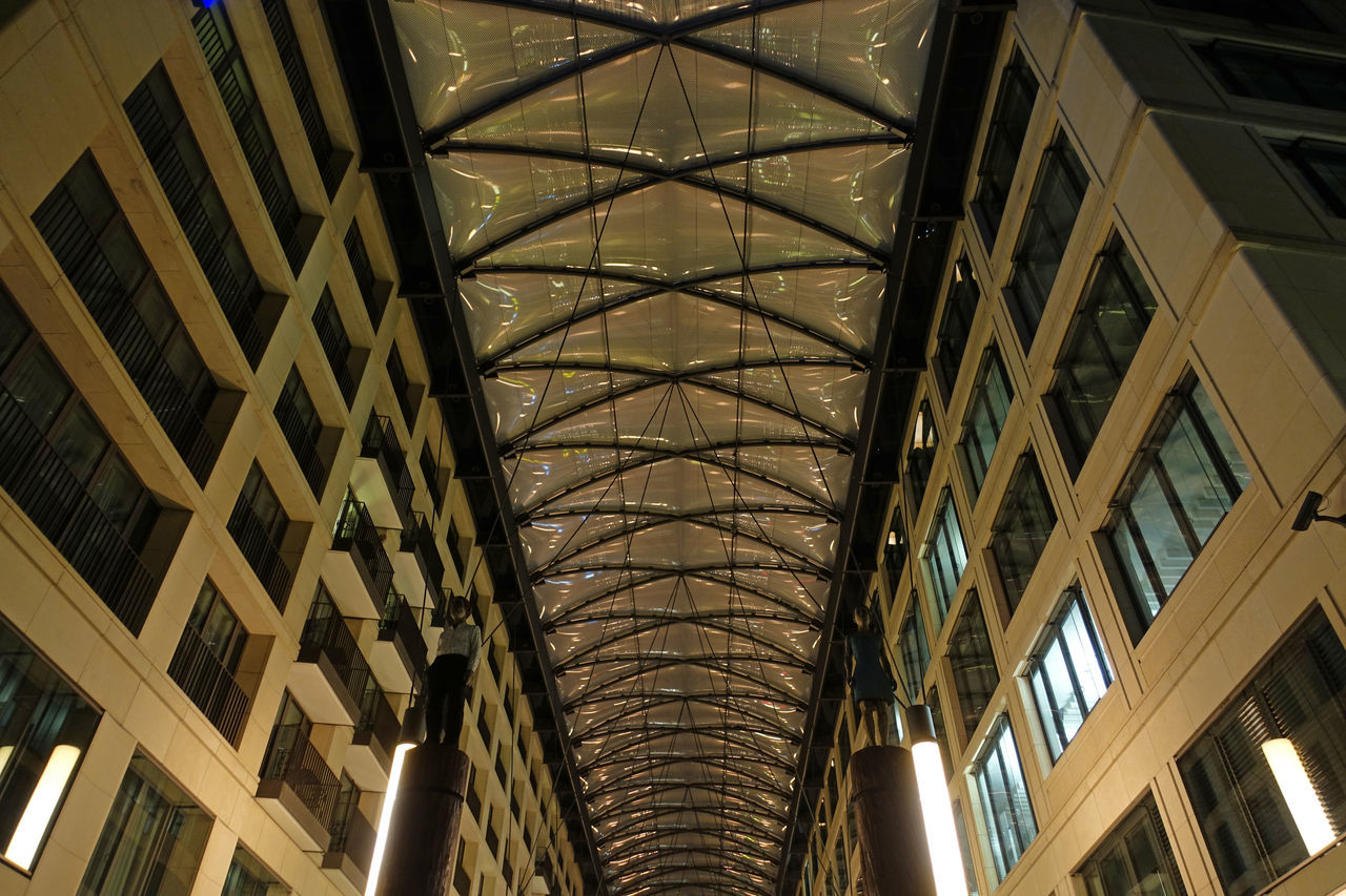 architecture, built structure, indoors, low angle view, ceiling, modern, no people, architectural design, day