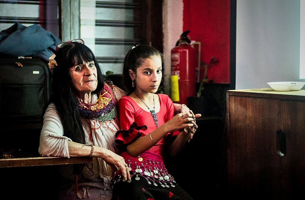 "Esmerálda and Alicia are two women representative of Romani people. They were invited by photographer Jordi Oliver (which I recommend) to his presentation of the work ""Alicia, Princess of freedom"" held on April 18 at La Rouge Raval in Barcelona. Romani people suffer continuous injustices, particularly in France, with evictions and illegal expulsions, being citizens of the EU. See the complete gallery of the evening at http://wp.me/p3WdQo-mn Photography Documentary Color Dosta! Esmeralda And Alicia"