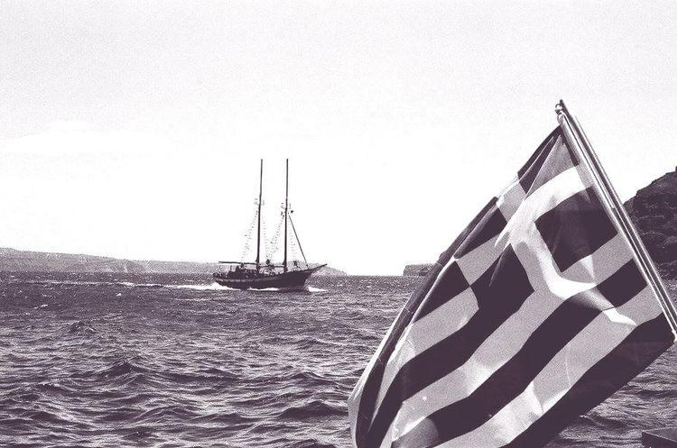 Boat Sea Ocean Blackandwhite Greece 35mm Film Sailing Santorini