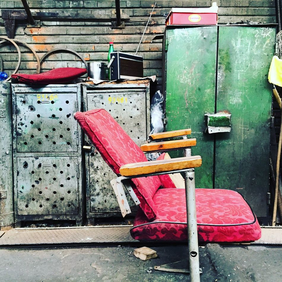 Abandoned Places Chair Day Decay No People Outdoors Pink Color The Secret Spaces Wood - Material