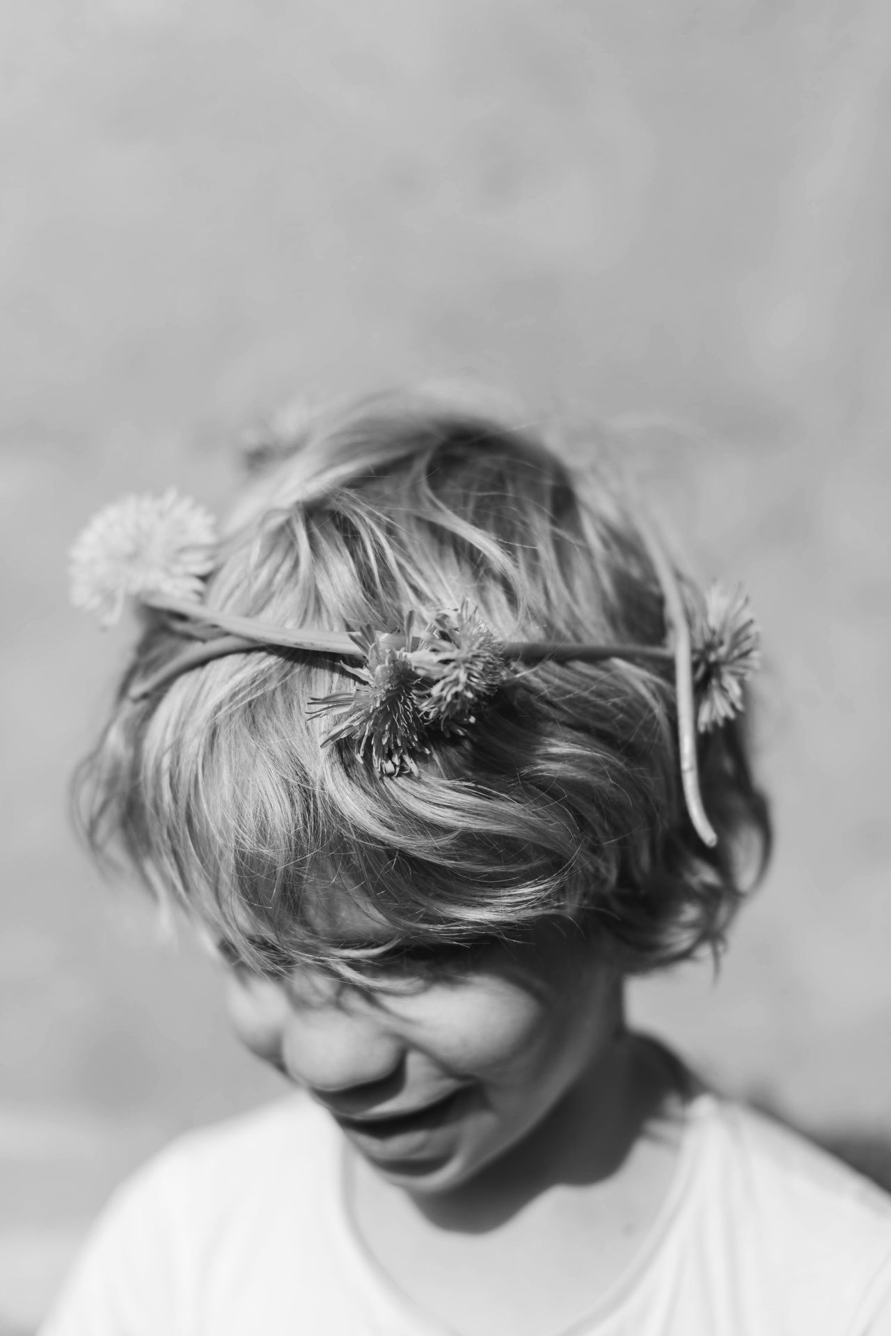 Childhood Real People Boys Blond Hair Close-up Lifestyles People Elementary Age One Person Focus On Foreground Day Sunlight Flower Flowercrown  TheWeekOnEyeEM Summertime Sunshine Spring Blackandwhite Black And White Photography Dandelion Dandelions Kids Kids Being Kids Kidsphotography The Week On EyeEm