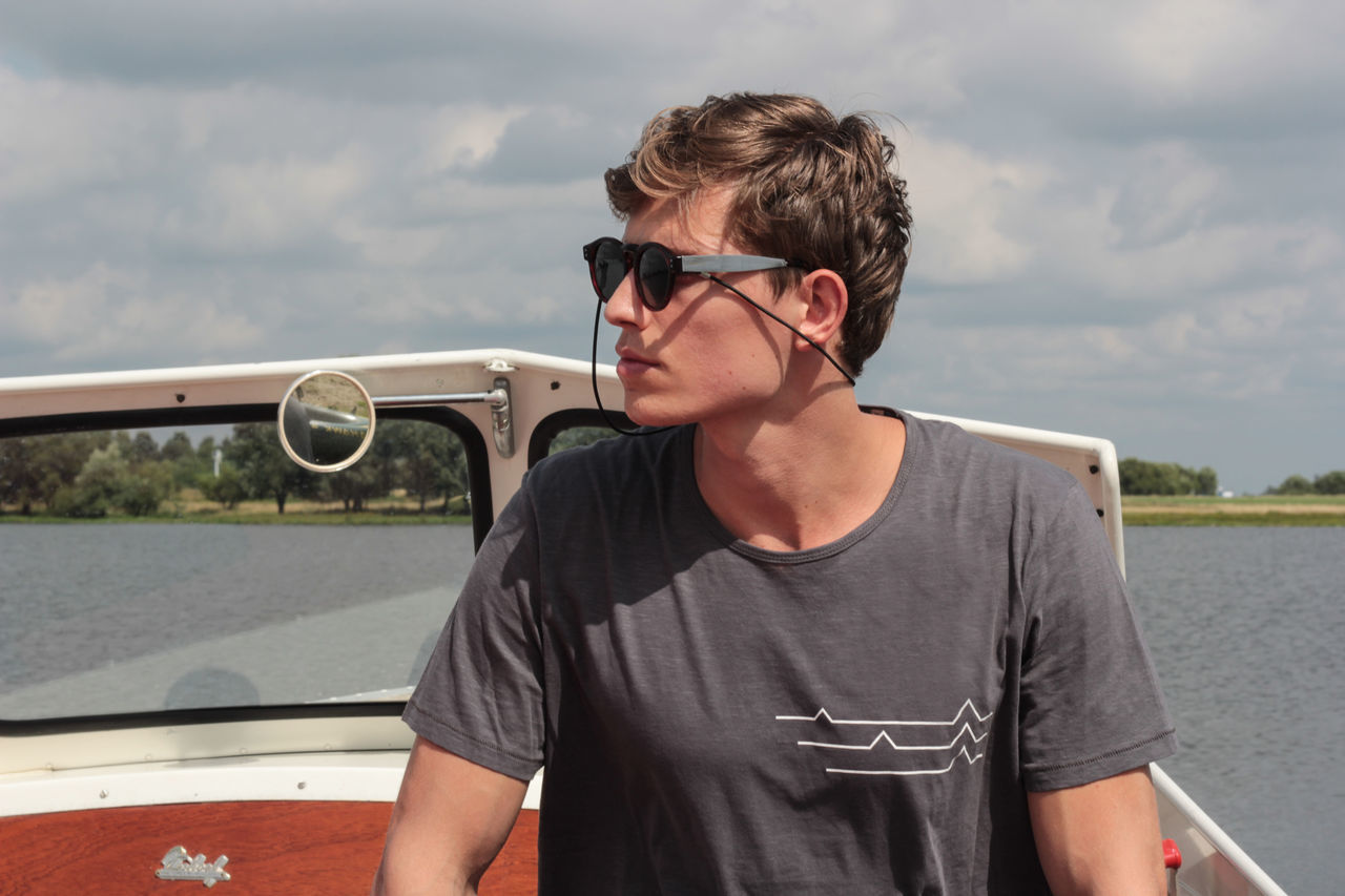 WIK - Triangle Boat Clothing Lake Lake View Lifestyle Portrait Sunglass  T-shirt WIK