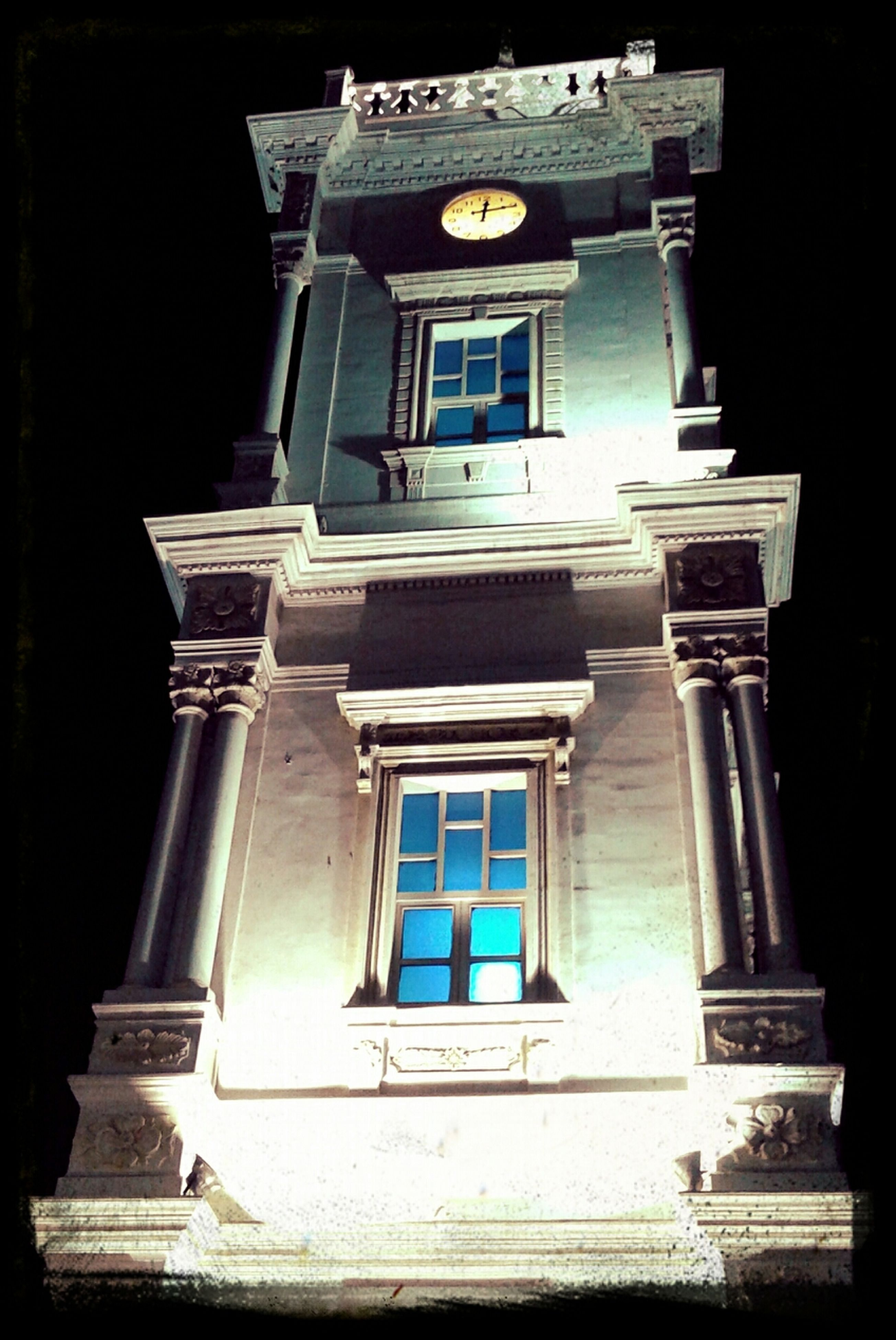architecture, built structure, building exterior, low angle view, window, religion, church, place of worship, facade, spirituality, entrance, night, building, history, door, arch, no people, auto post production filter