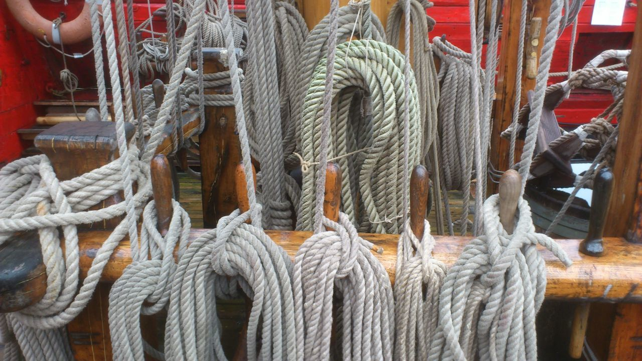 High Angle View Of Ropes In Sailboat