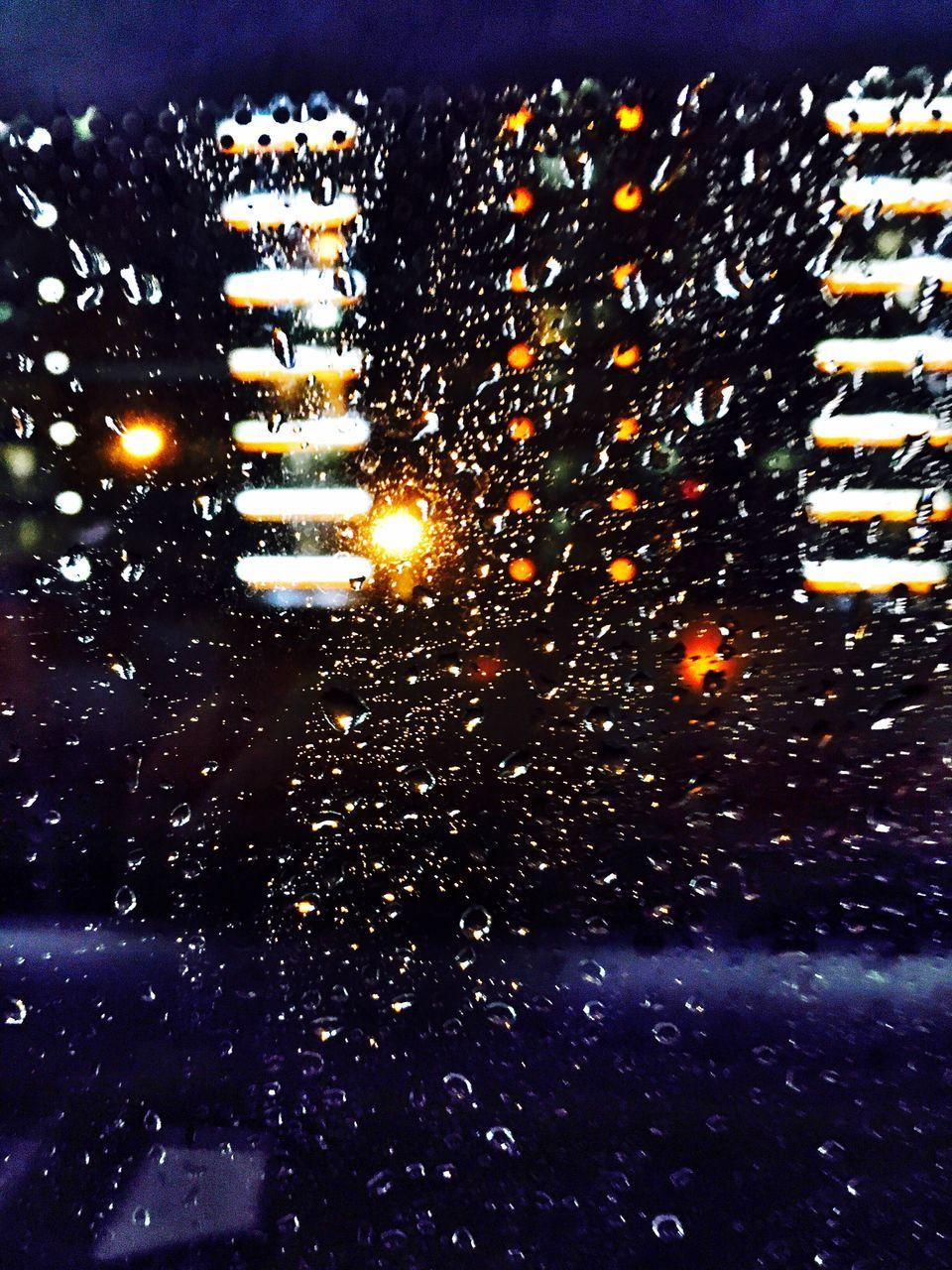 illuminated, weather, night, wet, no people, raindrop, car, land vehicle, road, water, outdoors, close-up, nature