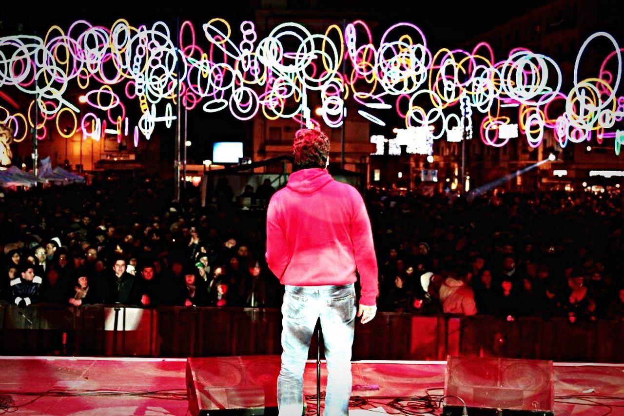 Rear View Standing Illuminated Lights Fluo  On Stage Music Brings Us Together Music