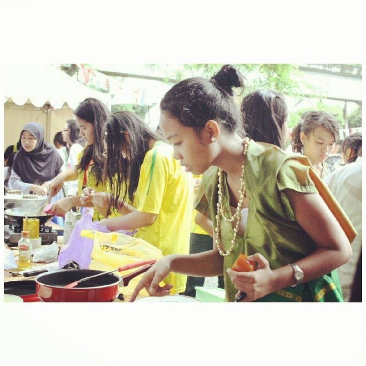 Wearing traditional costume at school cooking comp., 2011. Won at 2nd place lol. BajuBodo