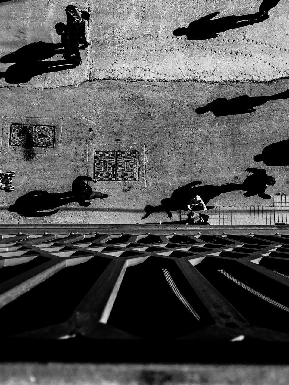 High Angle View People On Street