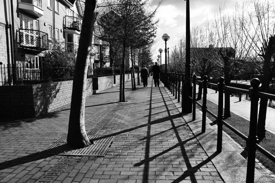 Street life Tree Outdoors Building Exterior City Built Structure Architecture Day Two People Black And White Urban Landscape Pavement Light And Shadow Nikon City Sunlight Capture The Moment Exceptional Photographs Atmospheric Mood Life Through A Lens Life Is Beautiful Just Go Shoot Photography Bare Tree Sky Nature