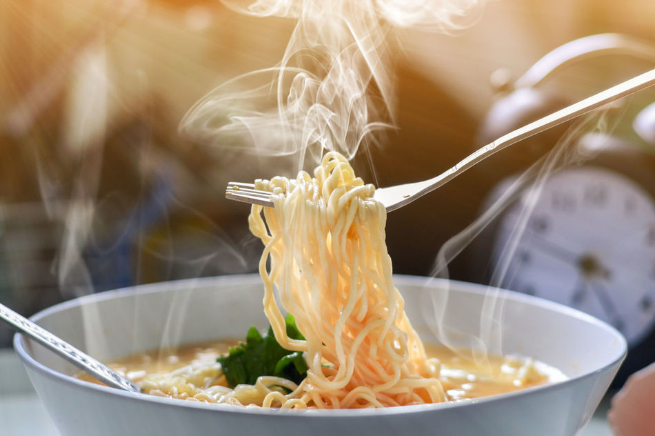 Hot noodle and smoke and sunlight Bowl Close-up Day Food Food And Drink Freshness Healthy Eating Indoors  No People Noodles Ready-to-eat Table