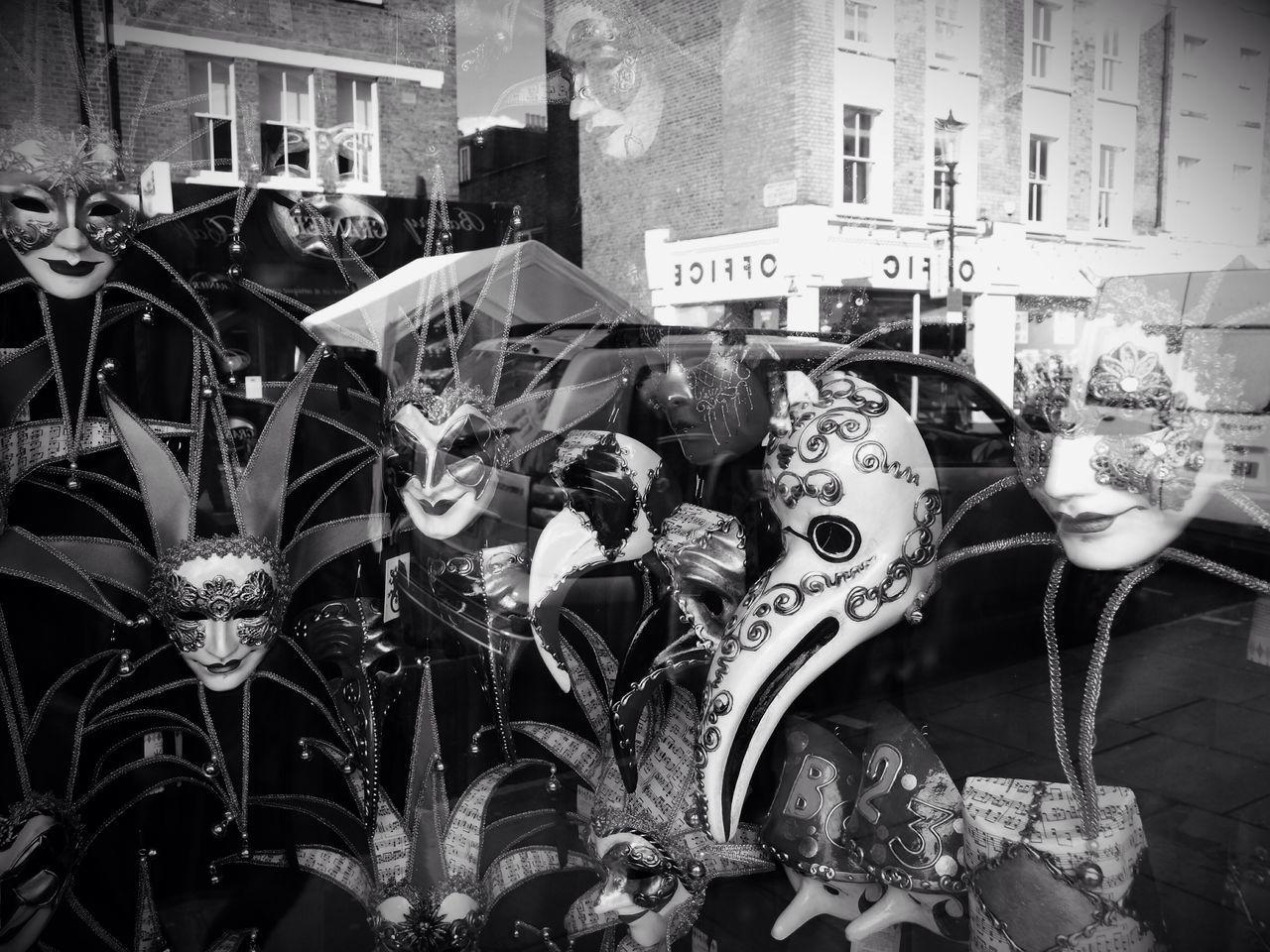 Reflections and masks, Portobello Road, London, U.K., Olympus Stevesevilempire Steve Merrick London Zuiko Uk Reflections Masks