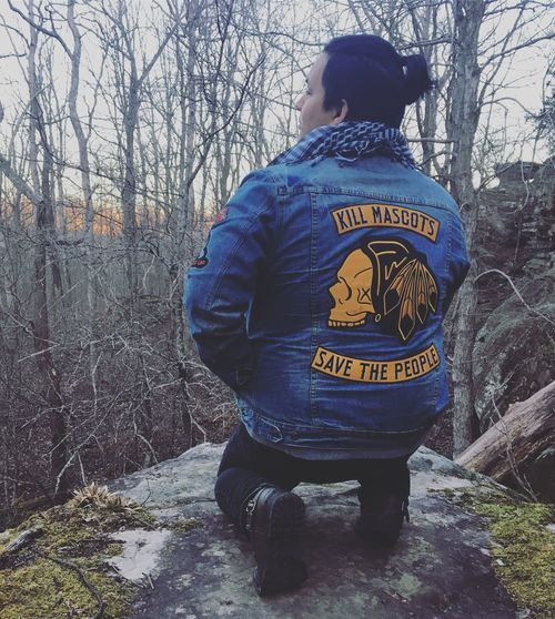 Native American Indian Native American Jean Jacket Woods One Person Tree Real People Outdoors Leisure Activity Lifestyles Rear View Men Cold Temperature Nature Warm Clothing Bare Tree Day Love Mascot Protest