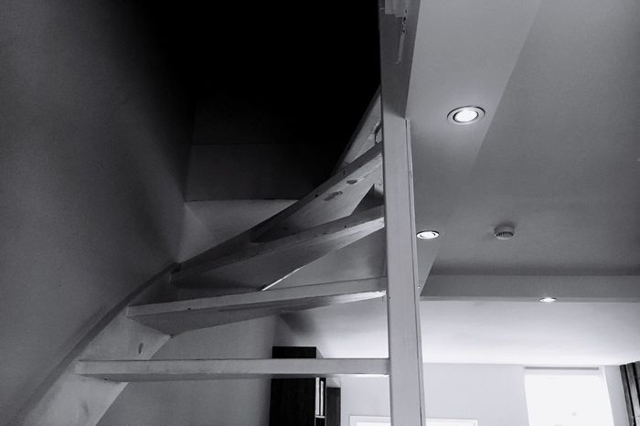 Low Angle View Architecture Stairs Close-up Indoors  House Blackandwhite