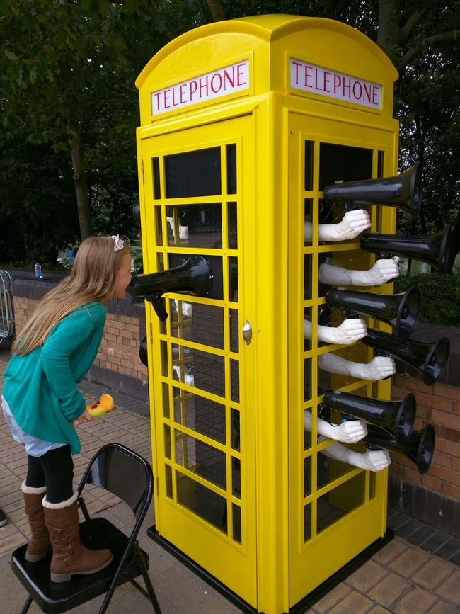 Telephone Box Yellow Hull East Yorkshire FREEDOM Festival Megaphone Hull 2017 City Of Culture 2017 Girl Shout Shouting
