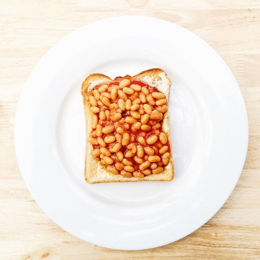 Baked beans on toast on white plate Baked Beans Baked Beans On Toast White Plate Healthy Eating Food Foodporn Food Photography Directly Above Overhead View Studio Shot Tomato Sauce Red Orange Color Colour Bread SLICE Toasted Toast🍞 Buttered Buttered Toast