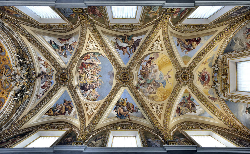 Architectural Design Architectural Feature Architecture Architecture And Art Built Structure Ceiling Certosa Di San Martino Close-up Day Giovanni Lanfranco Glory Of Christ History Indoors  Low Angle View Naples, Italy No People Ornate Pattern Tourism Travel Travel Destinations Vaulted Ceiling Window
