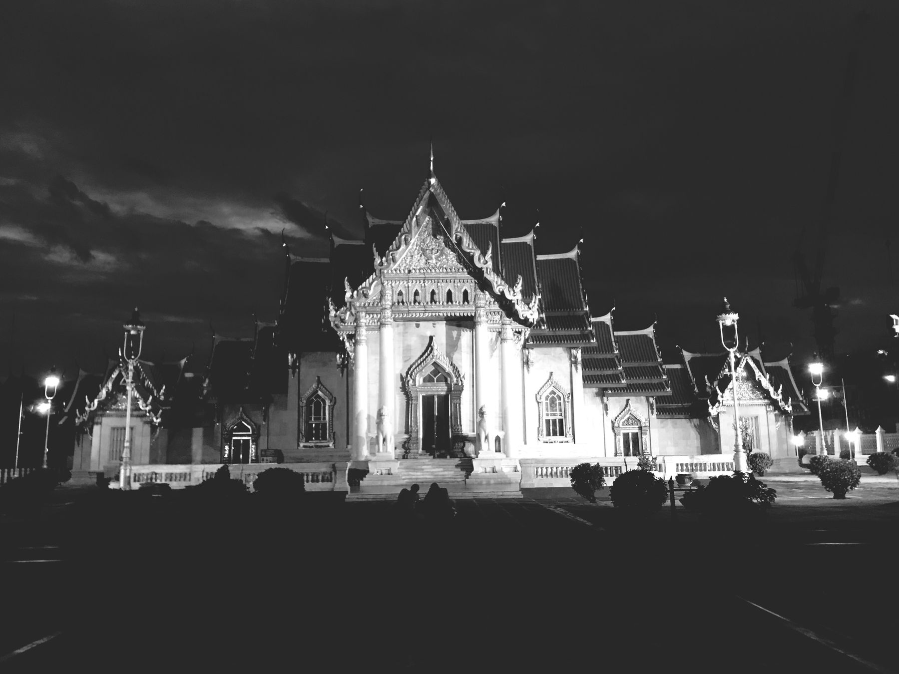 Religion Architecture Spirituality Built Structure Place Of Worship Building Exterior Sky Night Illuminated Travel Destinations Travel Outdoors Cloud - Sky Statue City Sculpture No People Wat Benchamabopit Bangkok Thailand. Watbenchamabophit