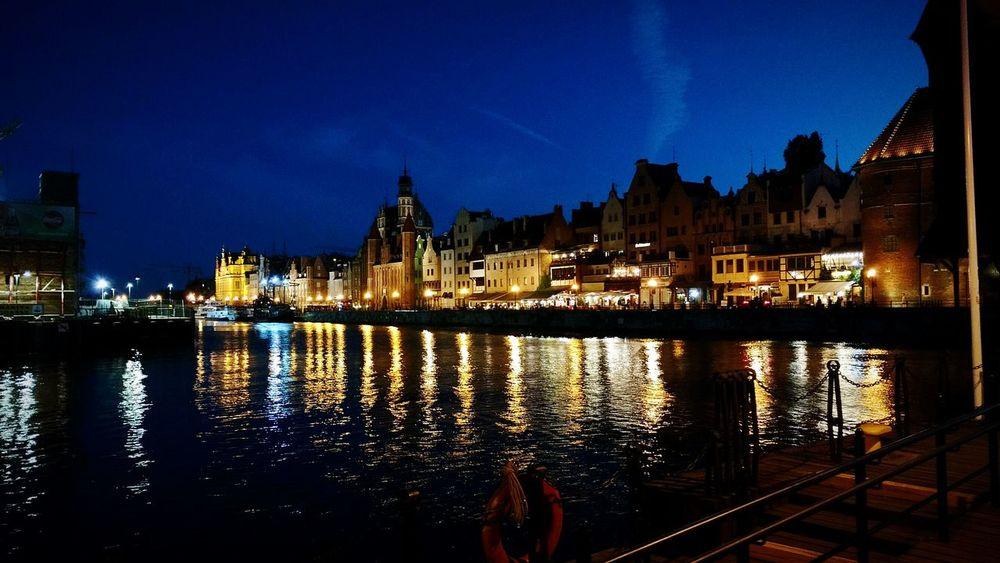 Gdańsk. Motława River Night Lights Night Town Night City Live For The Story