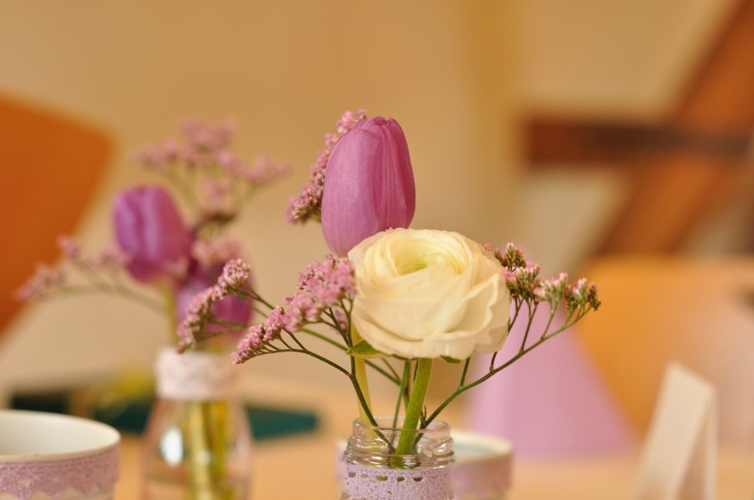 Flower Vase Table Indoors  Still Life Focus On Foreground No People Close-up Fragility Flower Head Freshness Plant Bouquet Day Pink Rosa Tabledecoration Decoration Paint The Town Yellow