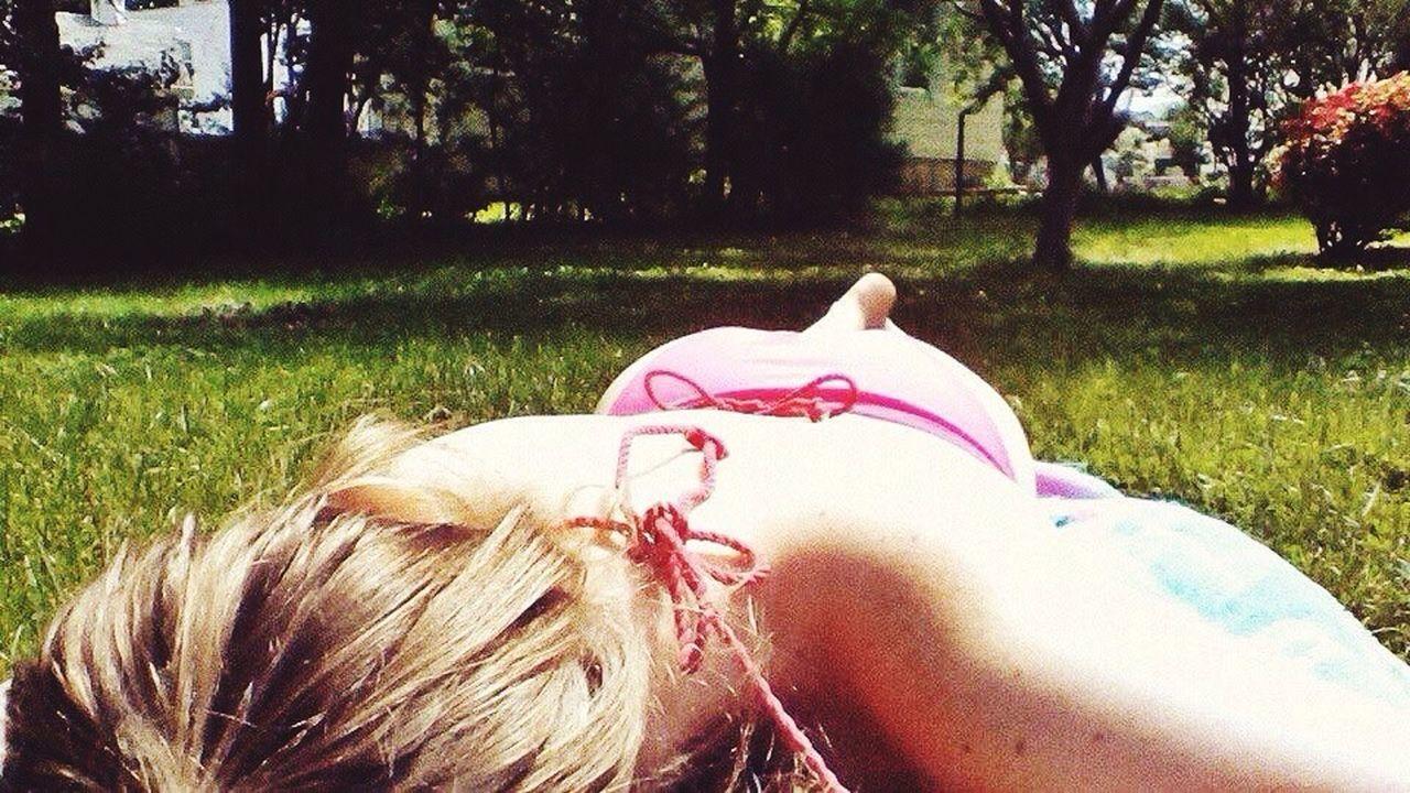 Bikini Pink Outdoors Photography Blonde Girl