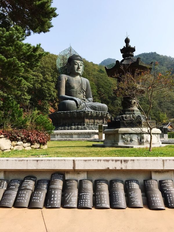 Place Of Worship Religion Statue Travel Destinations Outdoors Korea Sokcho 속초 Seoraksannationalpark Seoraksan Beauty In Nature Beautiful Breathtaking Buddha
