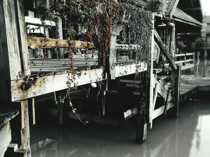 Floatingmarket Thailand Withered Plants Wooden Bridge