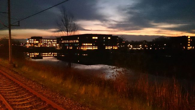 Beautiful Sky Sunrise Mirror Picture Architecture Train Station Station Woerden (c) 2016 Shangita Bose All Rights Reserved Showcase: January The Architect - 2016 EyeEm Awards My Commute 43 Golden Moments