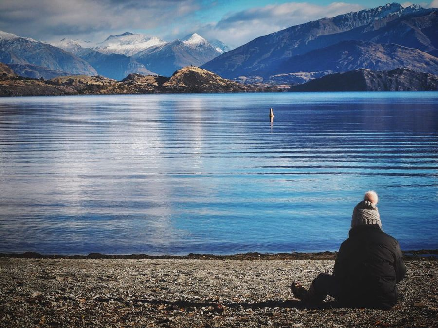 Rear View Scenics Real People Tranquil Scene Mountain Mountain Range Beauty In Nature Leisure Activity Lake Tranquility Sitting One Person Relaxation Lifestyles Lake Wanaka Wanakalake Wanaka New Zealand Scenery New Zealand New Zealand Landscape Alone Alone Time Loneliness Thinking Thinking About Life The Great Outdoors - 2017 EyeEm Awards