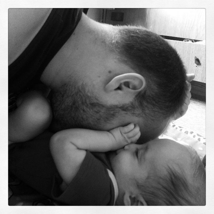 Love Fathernson Bnw Blackandwhite mik kiss hug baby