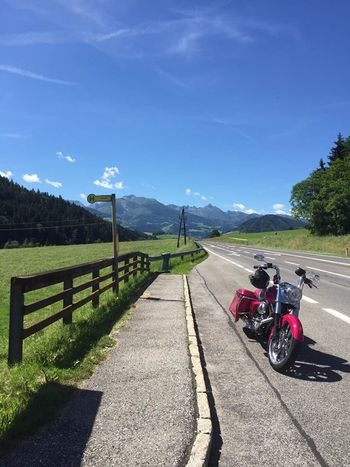 Baggerstyle Beauty In Nature Day Harleydavidson Helmet Landscape Men Motorcycle Mountain Mountain Range Nature Outdoors People Pink Color Real People Road Scenics Shadow Sky Sunlight Transportation