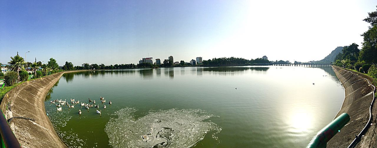 Reflection Water Reflection Architecture Tree Built Structure Outdoors Nature Sky Lake Day Clear Sky No People Scenics Beauty In Nature Fish-eye Lens Building Exterior Iran Peaceful Landmarks Lake View Lakeside Peace And Quiet Waterfront Duck