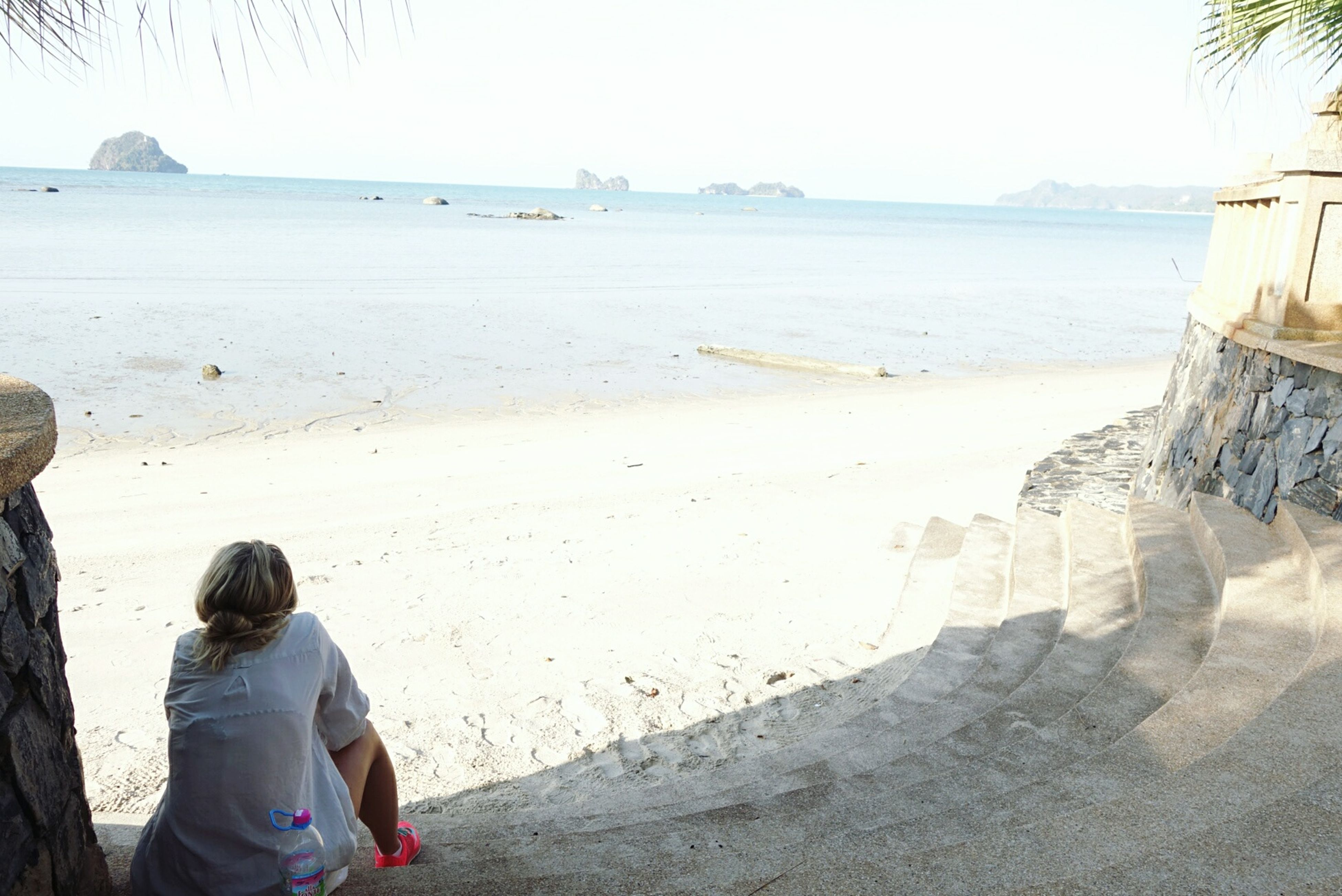 beach, sea, water, shore, sand, leisure activity, lifestyles, rear view, horizon over water, vacations, tranquility, tranquil scene, clear sky, beauty in nature, relaxation, men, scenics, full length