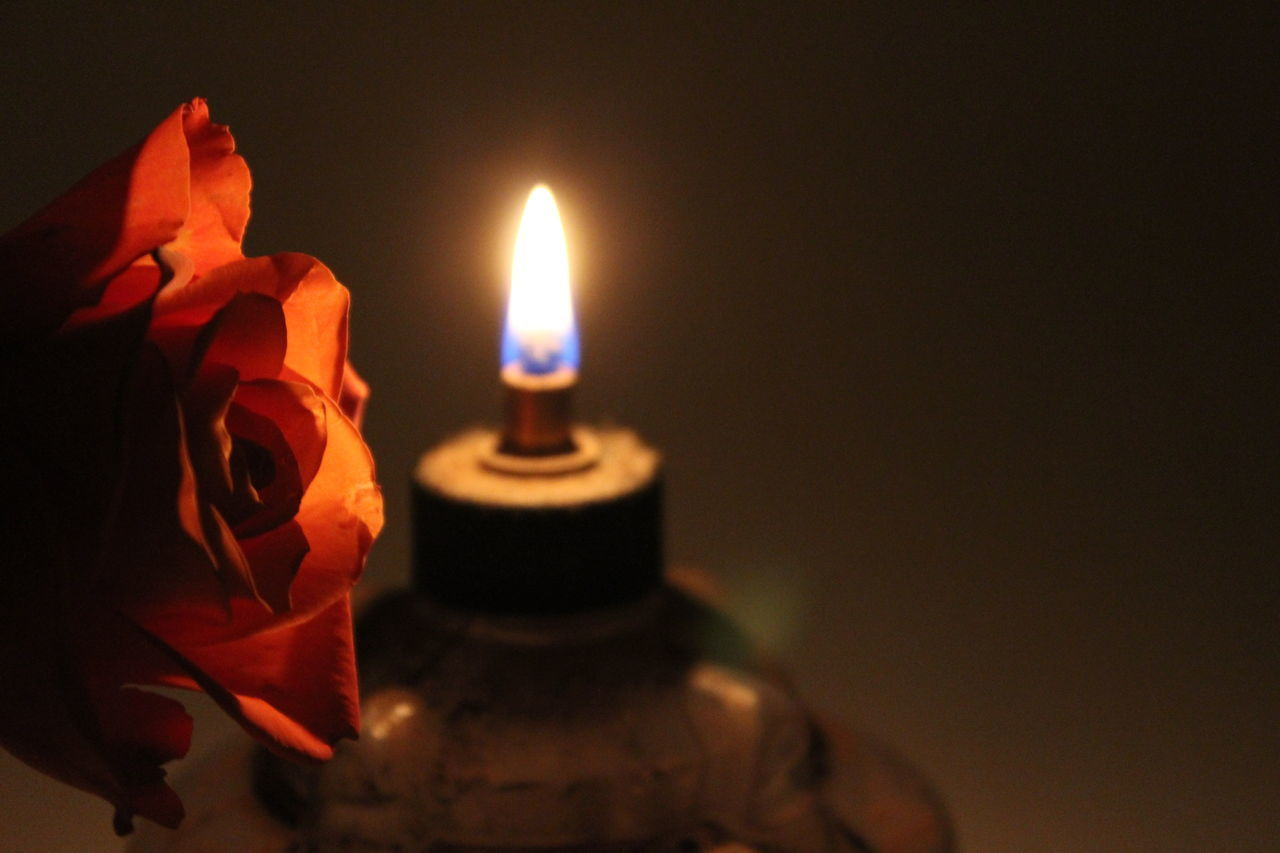 Burning Candle Close-up Flame Glowing Heat - Temperature Illuminated Indoors  Night No People