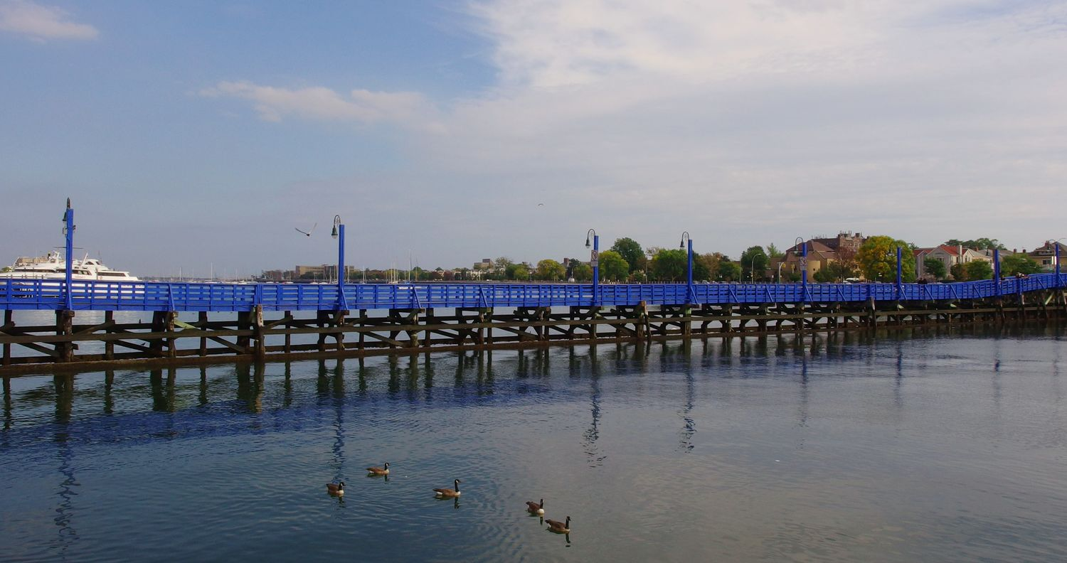 The blue bridge in Sheepshead Bay. Water Outdoors Bay Day Nautical Vessel Sky Bridge Water Foul Reflection Photography